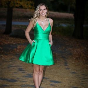 Satin Jovani Emerald Green Dress